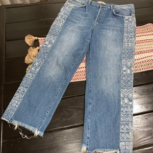 Free people cropped high rise jeans size 31